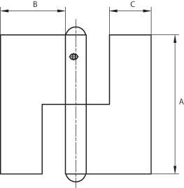 Let dørhængsel 70x33 mm med skarpe hjørner, højrehængt og varmforzinket