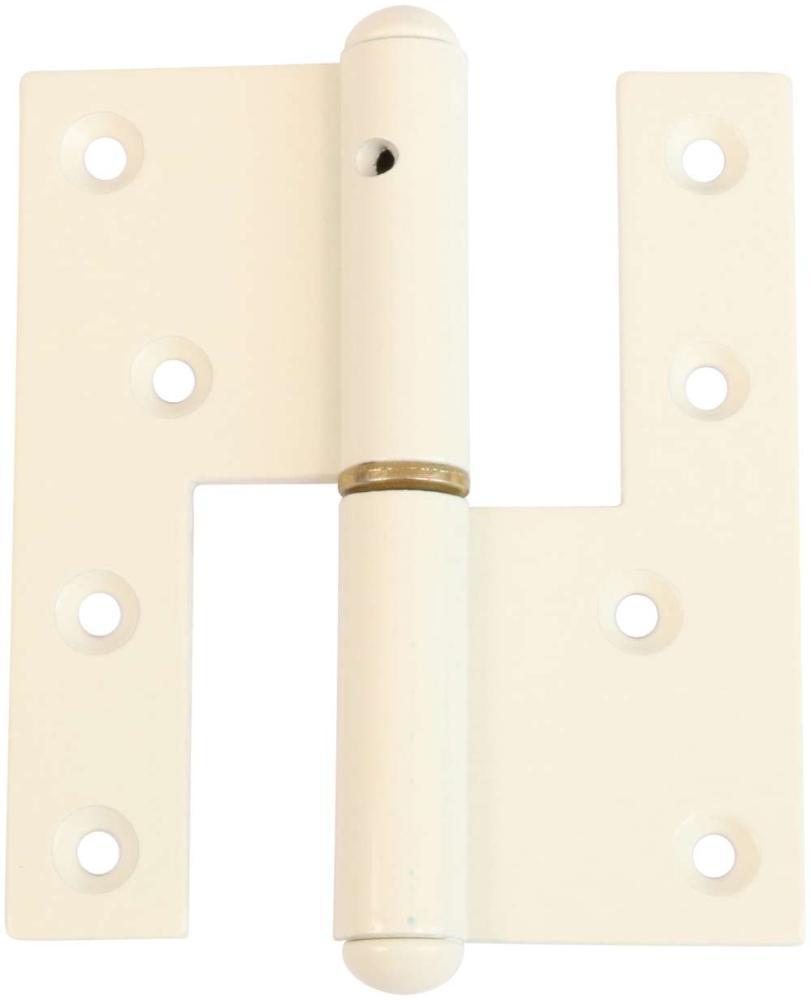 Svært dørhængsel 123x45 mm med skarpe hjørner, højrehængt og hvid