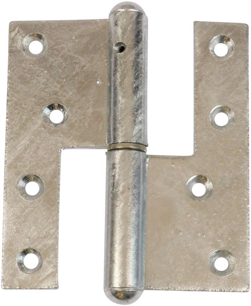 Svært dørhængsel 123x45 mm med skarpe hjørner, højrehængt og varmforzinket