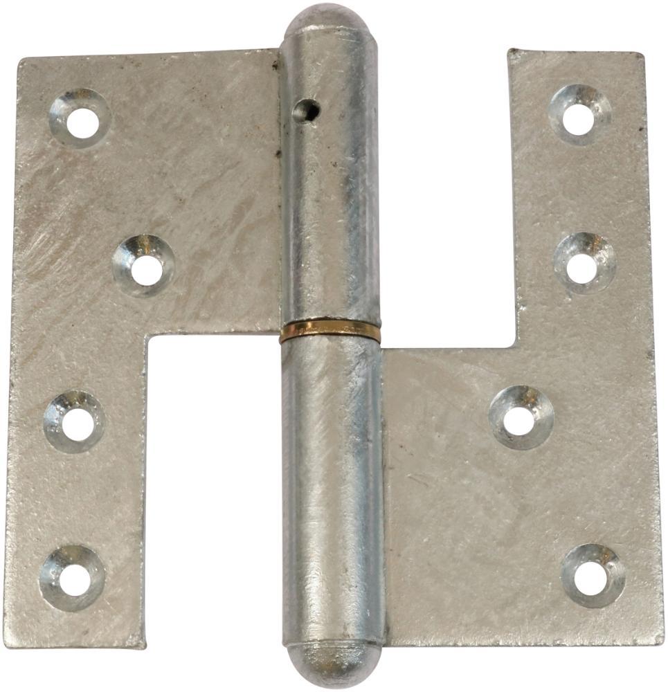 Svært dørhængsel 123x55 mm med skarpe hjørner, højrehængt og varmforzinket