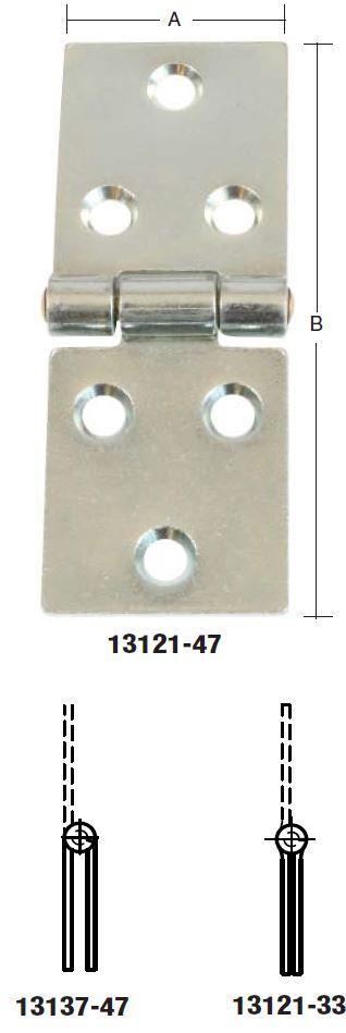 Bladhængsel 20x71 mm 2 stk med skarpe hjørner og elforzinket blå