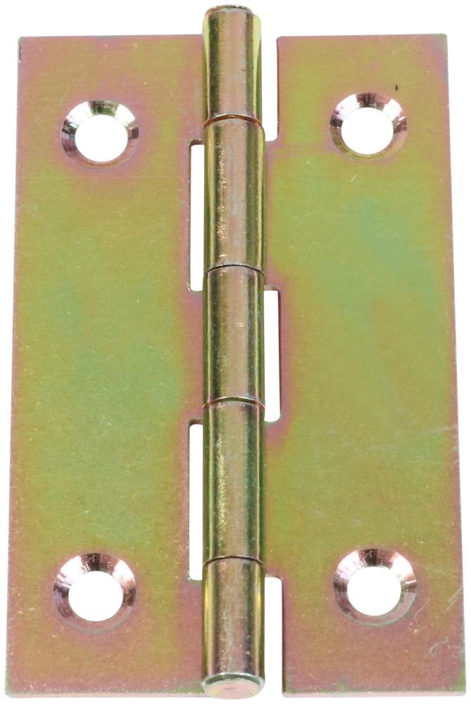 Kanthængsel 50x13 mm 2 stk. med skruer med skarpe hjørner og elforzinket blå