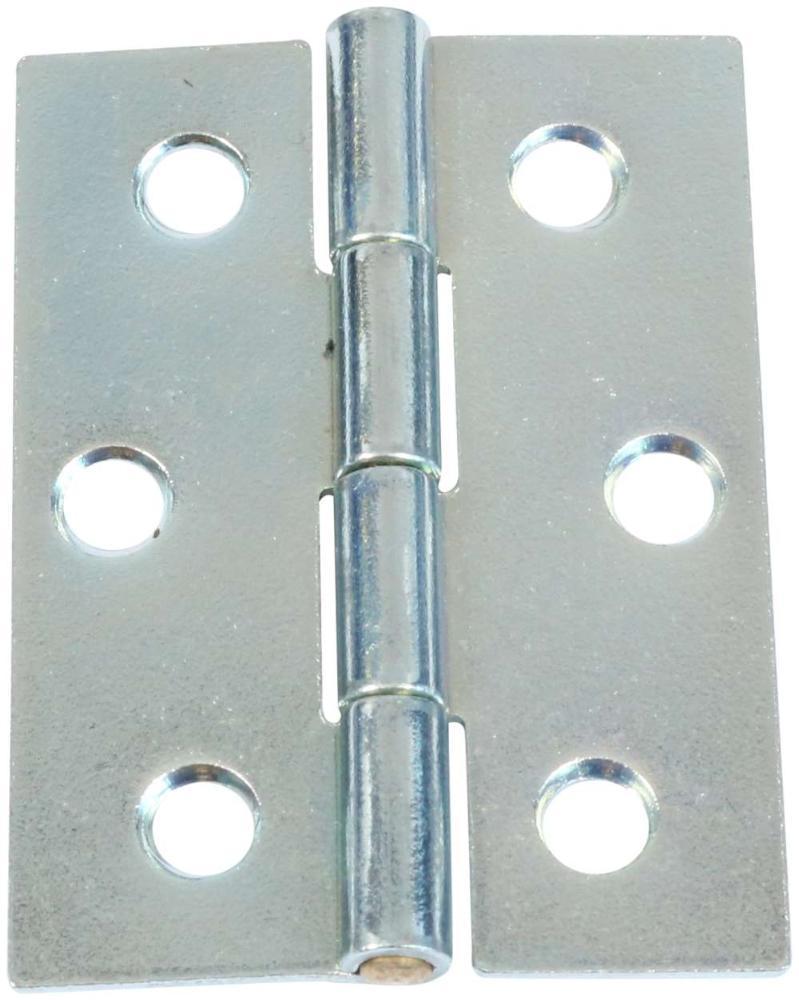 Kanthængsel 50 mm 2 stk. med skarpe hjørner og elforzinket blå