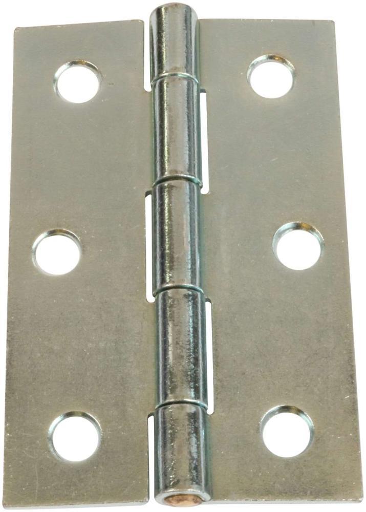 Kanthængsel 89 mm med skarpe hjørner og elforzinket blå