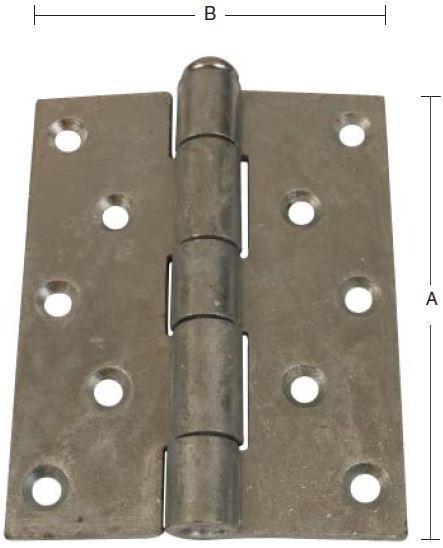 Svært kanthængsel 88x76 mm med skarpe hjørner og elforzinket blå