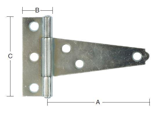 T-bladhængsel 75 mm og elforzinket
