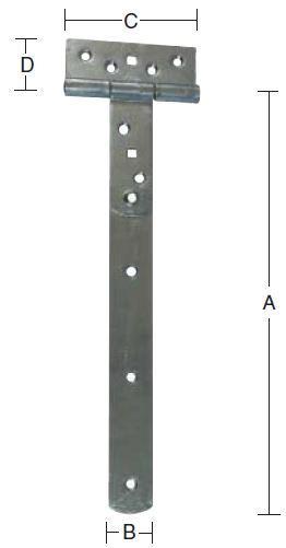 T-bladhængsel 455 mm og varmforzinket