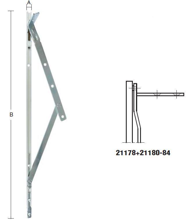 Topstyret beslag med friktion - længde 293 mm