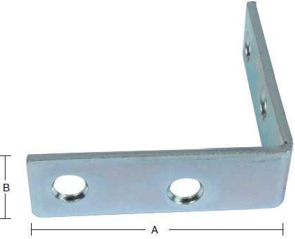Vinkeljern 75 mm 2 stk. med skruer og elforzinket blå