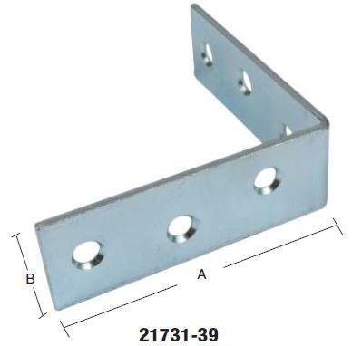 Vinkeljern 65 mm 2 stk. og elforzinket blå