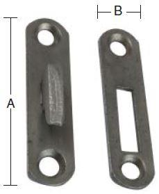 Sengebeslag 65 mm 1 sæt i stål med runde hjørner og blank/ubehandlet