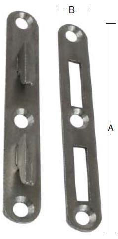 Sengebeslag 130 mm 1 sæt i stål med runde hjørner og blank/ubehandlet