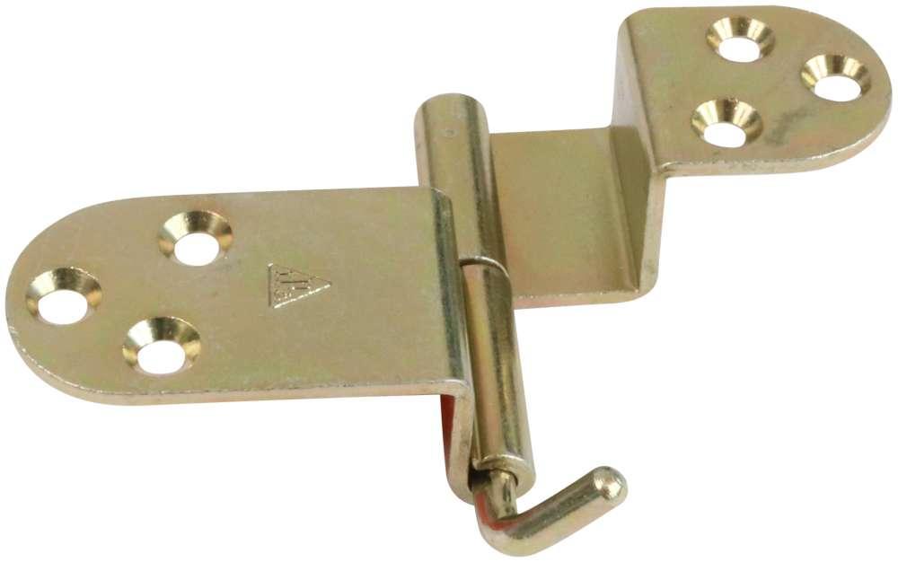 Klapbordsbeslag 33-36 mm med runde hjørner og elforzinket gul