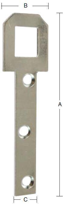 Hængeblik 85 mm 4 stk. med skruer og elforzinket blå