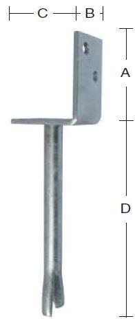 Stolpebærer 75 mm L-profil 75x90 mm, pind 400 mm og varmforzinket