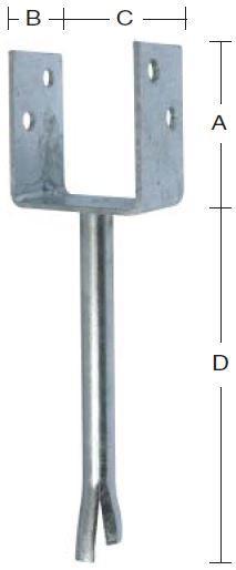 Stolpebærer 101 mm U-profil 101x90 mm, pind 200 mm og varmforzinket