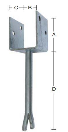 Stolpebærer 71 mm U-profil 71x90 mm, pind 200 mm og varmforzinket